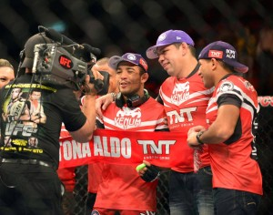 Jose Aldo & team celebrate UFC 163 win - Jason Silva-USA TODAY Sports