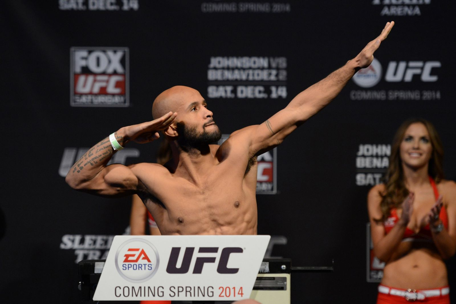 Demetrious Johnson poses UFC on Fox 9 weigh-ins