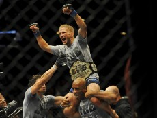 t.j. dillashaw celebrates ufc 173 victory over renan barao