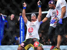 antonio rogerio nogueira celebrates win over rashad evans