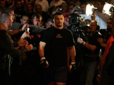 MANCHESTER, UNITED KINGDOM - APRIL 21: A pensive Mirko Cro Cop of Croatia walks to the octagon before fighting Gabriel Gonzaga of USA in a Heavyweight bout of the Ultimate Fighting Championship at the Manchester Evening News Arena on April 21, 2007 in Manchester, England. (Photo by Gary M. Prior/Getty Images)