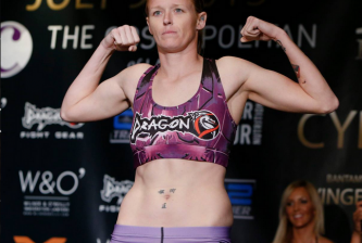 LAS VEGAS, NV - July 8th:  Tonya Evinger weighs in ahead of her Invicta 13 title bout with Irene Aldana  (Photo by Esther Lintor/Invicta FC Media)