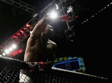 NEWARK, NJ - JANUARY 30:  Anthony Johnson of the United States	 celebrates his win by TKO against Ryan Bader (not pictured) of the United States in the first round of their light heavyweight bout during the UFC Fight Night event at the Prudential Center on January 30, 2016 in Newark, New Jersey.  (Photo by Elsa/Getty Images)