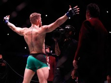 LAS VEGAS, NV - DECEMBER 12:  Conor McGregor plays to the camera before his featherweight title fight against Jose Aldo during UFC 194 at MGM Grand Garden Arena on December 12, 2015 in Las Vegas, Nevada.  (Photo by Steve Marcus/Getty Images)