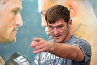 ADELAIDE, AUSTRALIA - MARCH 02: Stipe Miocic of the United States talks to the media during the UFC Adelaide Media Opportunity at Adelaide Entertainment Centre on March 2, 2015 in Adelaide, Australia.  (Photo by David Mariuz/Getty Images)