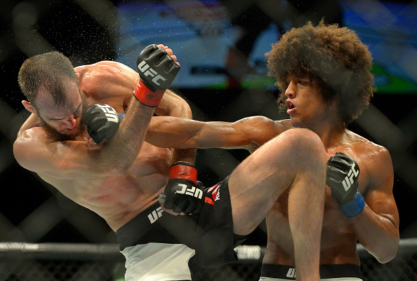 INGLEWOOD, CA - JUNE 04:  Alex Caceres and Cole Miller during their featherweight bout at UFC 199 at The Forum on June 4, 2016 in Inglewood, California.  (Photo by Jayne Kamin-Oncea/Getty Images)
