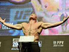 LAS VEGAS, NV - JULY 08:  Mixed martial artist Brock Lesnar poses on the scale during his weigh-in for UFC 200 at T-Mobile Arena on July 8, 2016 in Las Vegas, Nevada. Lesnar will meet Mark Hunt in a heavyweight bout on July 9 at T-Mobile Arena.  (Photo by Ethan Miller/Getty Images)