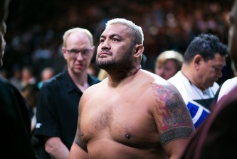 LAS VEGAS, NV - JULY 9: Mark Hunt prepares to enter the Octagon against Brock Lesnar during the UFC 200 event at T-Mobile Arena on July 9, 2016 in Las Vegas, Nevada. (Photo by Rey Del Rio/Getty Images)