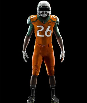 Nike Miami Hurricanes 2014 Football Uniform - Juice