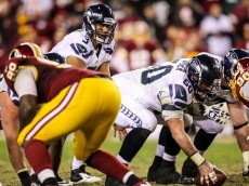 Jan 6, 2013; Landover, MD, USA; Seattle Seahawks quarterback Russell Wilson (3) lines up during the second half of the NFC Wild Card playoff game against the Washington Redskins at FedEx Field. The Seahawks won 24-14. Mandatory Credit: Daniel Shirey-USA TODAY Sports