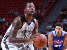 LAS VEGAS, NV - JULY 15: Cliff Alexander #34 of the Brooklyn Nets shoots a free throw against the Philadelphia 76ers on July 15, 2015 at the Thomas & Mack Center in Las Vegas, Nevada.  NOTE TO USER: User expressly acknowledges and agrees that, by downloading and or using this Photograph, user is consenting to the terms and conditions of the Getty Images License Agreement. Mandatory Copyright Notice: Copyright 2015 NBAE (Photo by Jack Arent/NBAE via Getty Images)