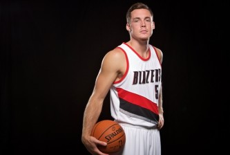 Sep 28, 2015; Portland, OR, USA; Portland Trail Blazers guard Pat Connaughton (5) poses during media day at the Moda Center. Mandatory Credit: Craig Mitchelldyer-USA TODAY Sports