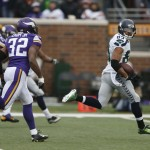 Seattle Seahawks wide receiver Doug Baldwin (89) looks back on a 53-yard touchdown reception against the Minnesota Vikings in the second half of an NFL football game Sunday, Dec. 6, 2015 in Minneapolis. (AP Photo/Jim Mone) MNPS118  (Jim Mone / The Associated Press)