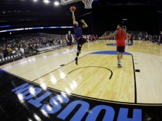 Gonzaga's Kyle Dranginis shoots during a practice session for a college basketball regional semifinal game in the NCAA Tournament Thursday, March 26, 2015, in Houston. Gonzaga plays UCLA on Friday. (AP Photo/David J. Phillip)