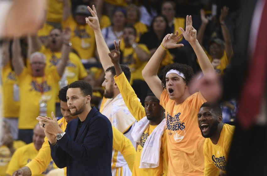 May 1, 2016; Oakland, CA, USA; Golden State Warriors guard Stephen Curry (30) celebrates against the Portland Trail Blazers during the second quarter in game one of the second round of the NBA Playoffs at Oracle Arena. Mandatory Credit: Kyle Terada-USA TODAY Sports