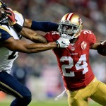 Sep 12, 2016; Santa Clara, CA, USA; San Francisco 49ers running back Shaun Draughn (24) rushes against Los Angeles Rams strong safety T.J. McDonald (25) during the first half of an NFL game at Levi's Stadium. Mandatory Credit: Kirby Lee-USA TODAY Sports