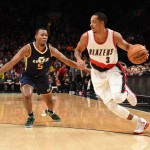 Oct 3, 2016; Portland, OR, USA; Portland Trail Blazers guard C.J. McCollum (3) drives to the basket against Utah Jazz guard Rodney Hood (5) during the first quarter at the Moda Center at the Rose Quarter. Mandatory Credit: Steve Dykes-USA TODAY Sports