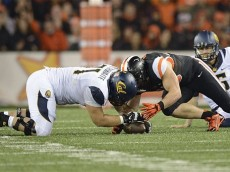 Oregon State right tackle Dylan Wynn (45), right, and right guard Alejandro Crosthwaite (71) of California fight for a fumble during an NCAA college football game in Corvallis, Ore., Saturday, Nov. 1, 2014. (AP Photo/Troy Wayrynen)