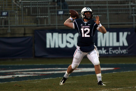 UConn QB Casey Cochran (12) releases a pass in the 4th quarter against the Memphis Tigers on December 7, 2013.