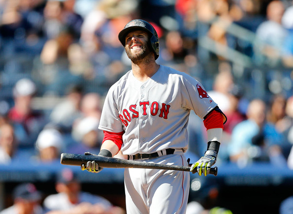 Dustin Pedroia #15 of the Boston Red Sox reacts to a strike during his seventh inning at bat against the New York Yankees at Yankee Stadium on April 12, 2014 in the Bronx borough of New York City.
