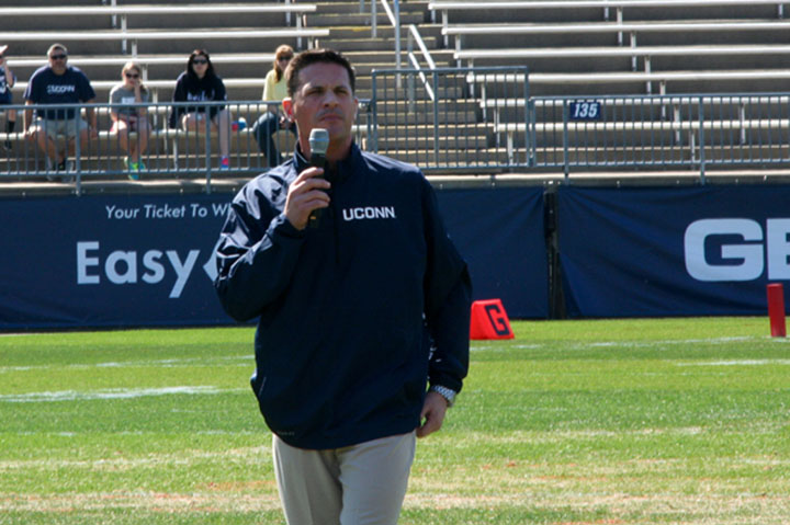 UConn Huskies football coach Bob Diaco addresses the crowd before the 2014 Blue/White Spring Game at Rentschler Field in East Hartford, CT.