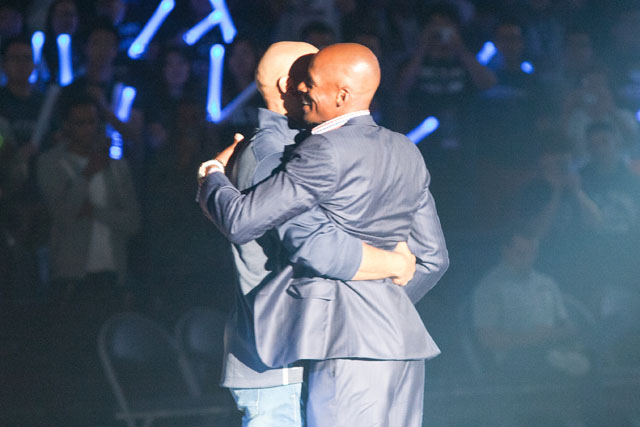 Former UConn great Ray Allen gives his former teammate Donny Marshall a hug at the 2014 UConn Basketball First Night festivities on October 17, 2014 at Gampel Pavilion in Storrs, CT.