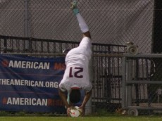 UConn Huskies men's soccer player Nick Zuniga executes a flip throw-in against the Yale Bulldogs on October 28, 2014.