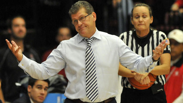 UConn head coach Geno Auriemma gestures to the bench at Roscoe Maples Pavilion Monday night.