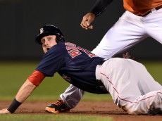 Will Middlebrooks #16 of the Boston Red Sox reacts as he is called out in the second inning after trying to steal second base against the Baltimore Orioles at Oriole Park at Camden Yards on September 20, 2014 in Baltimore, Maryland.
