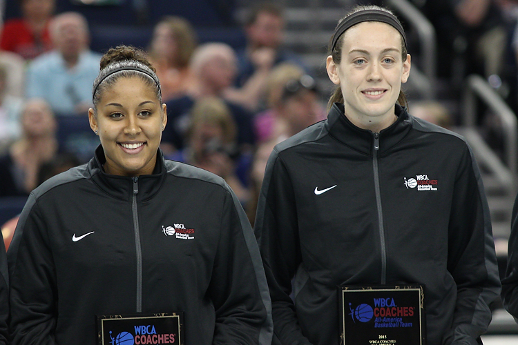 UConn's Kaleena Mosqueda-Lewis (23) and Breanna Stewart (30) are honored as WBCA All-Americans before the UConn Huskies open practice at the 2015 NCAA Women's Basketball Tournament at Amalie Arena in Tampa, FL.