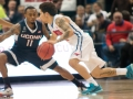 UConn's Ryan Boatright guards SMU's Nic Moore during the 2015 American Athletic Conference men's championship finals between the SMU Mustangs and the UConn Huskies at the XL Center in Hartford, CT.