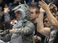 A UConn fan wears a squirrel costume during the 2015 American Athletic Conference men's championship finals between the SMU Mustangs and the UConn Huskies at the XL Center in Hartford, CT.