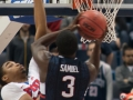 UConn's Terrence Samuel (3) goes up strong during the 2015 American Athletic Conference men's championship finals between the SMU Mustangs and the UConn Huskies at the XL Center in Hartford, CT.