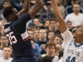 UConn's Amida Brimah (35) puts up a jumper during the American Athletic Conference men's championship semifinals between the Tulsa Golden Hurricane and the UConn Huskies at the XL Center in Hartford, CT.
