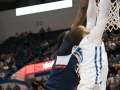 UConn's Amida Brimah (35) blocks a shot during the American Athletic Conference men's championship semifinals between the Tulsa Golden Hurricane and the UConn Huskies at the XL Center in Hartford, CT.