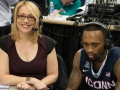 UConn's Ryan Boatright (11) gets ready to talk with ESPN's Doris Burke after the win at the American Athletic Conference men's championship semifinals between the Tulsa Golden Hurricane and the UConn Huskies at the XL Center in Hartford, CT.