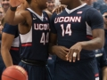 UConn's Rodney Purvis (44) talks to Rakim Lubin (14) during the American Athletic Conference men's championship semifinals between the Tulsa Golden Hurricane and the UConn Huskies at the XL Center in Hartford, CT.