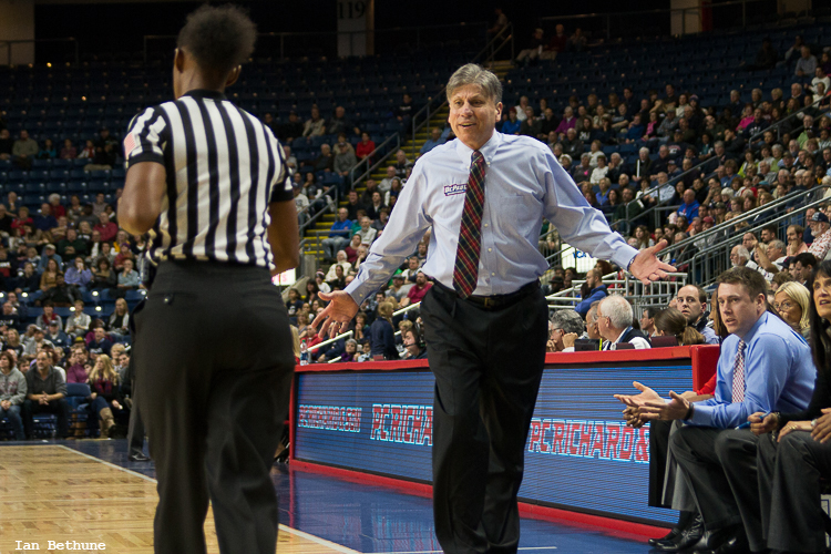 DePaul head coach Doug Bruno argues a call in the first half during the game with UConn at Webster Bank Arena.