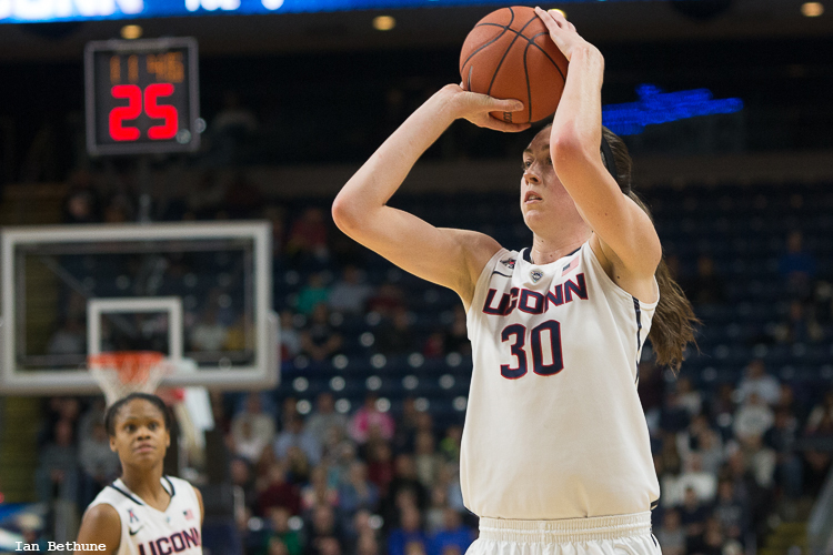 UConn F Breanna Stewart (30) puts up a three-pointer in the first half against DePaul at Webster Bank Arena.