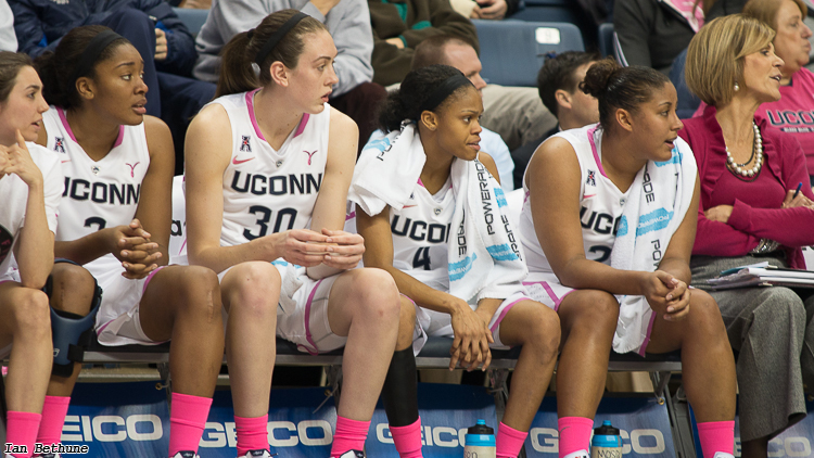 UConn's Morgan Tuck (3), Breanna Stewart (30), Moriah Jefferson (4) and Kaleena Mosqueda-Lewis all earned First Team All-Conference honors from the American Athletic Conference.