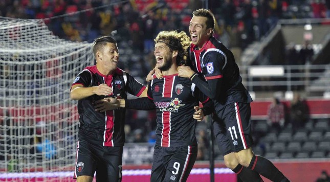 November 08, 2015: NASL Championship Semi-Final between the fall season Champions Ottawa Fury FC and Minnesota United FC  in the NASL at TD Place Stadium in Ottawa, Canada. The Fury booked their place in the Championship Final after coming from behind to beat Minnesota United 2-1 after extra-time with both goals from Fury striker Tom Heinemann.