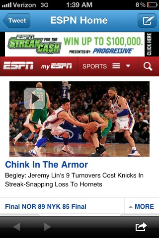 Espn Uses A Very Unfortunate Headline With Quot A Chink In The