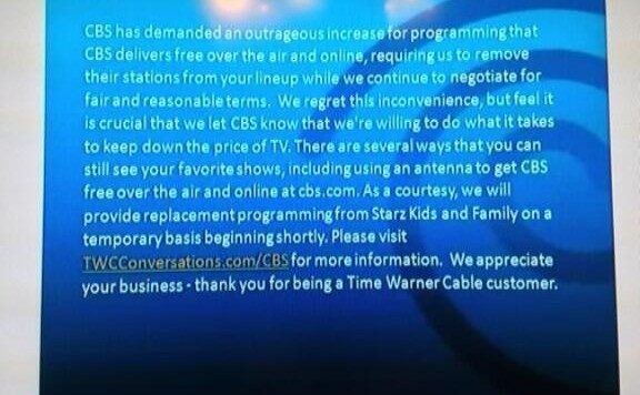 Time Warner CBS message