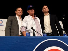 CHICAGO, IL - NOVEMBER 03:  Joe Maddon (C) is introduced as the Chicago Cubs new manager with Cubs President Theo Epstein (R) and General Manager Jed Hoyer during a press conference on November 3, 2014 in Chicago, Illinois.  (Photo by David Banks/Getty Images)