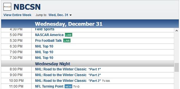 hockey schedule on nbcsn