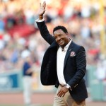 BOSTON, MA - AUGUST 14:  Former Boston Red Sox pitcher Pedro Martinez walks on the field after being inducted into the Red Sox Hall of Fame before a game between the Red Sox and the Houston Astros at Fenway Park on August 14, 2014 in Boston, Massachusetts.  (Photo by Jim Rogash/Getty Images)