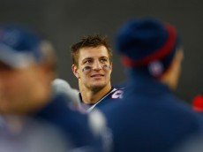 FOXBORO, MA - DECEMBER 14:  Rob Gronkowski #87 of the New England Patriots reacts during the fourth quarter against the Miami Dolphins at Gillette Stadium on December 14, 2014 in Foxboro, Massachusetts.  (Photo by Jared Wickerham/Getty Images)