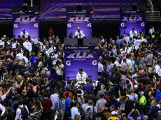 addresses the media at Super Bowl XLIX Media Day Fueled by Gatorade inside U.S. Airways Center on January 27, 2015 in Phoenix, Arizona.