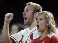 PHOENIX, AZ - SEPTEMBER 28:  St. Louis Cardinals fans celebrate their team winning the National League Central division after a 1-0 win against the Arizona Diamondbacks at Chase Field on September 28, 2014 in Phoenix, Arizona.  (Photo by Norm Hall/Getty Images)