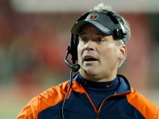 COLUMBUS, OH - NOVEMBER 1: Head coach Tim Beckman of the Illinois Fighting Illini looks on in the first half of the game against the Ohio State Buckeyes at Ohio Stadium on November 1, 2014 in Columbus, Ohio. (Photo by Joe Robbins/Getty Images)